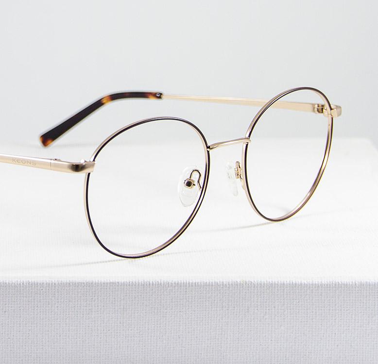 Mika gafa dorado marron detalle lateral