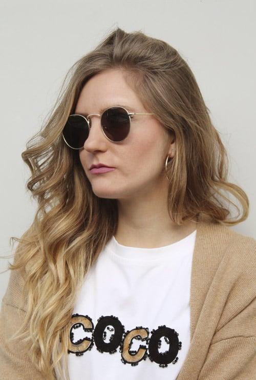 Amber gafa sol progresiva dorado verde chica rubia